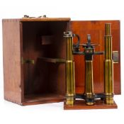 A LATE 19TH CENTURY BRASS SPECTROMETER by Townson and Mercer with 12 inch telescopes, the bed