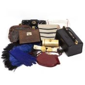 A VINTAGE LOUIS VUITTON LEATHER CLUTCH BAG 25cm wide together with further various handbags, an