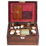 A ROSEWOOD MICROSCOPE SLIDE PREPARATION BOX refitted from a Victorian ladies dressing box,