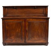 A 19TH CENTURY NAPERY CHEST the raised back with hinged fall and two panelled cupboard doors below