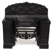 A VICTORIAN BLACK PAINTED CAST IRON FIRE GRATE overall 90cm wide x 38cm deep x 85cm high