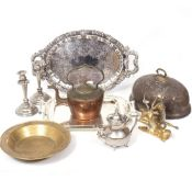 A MERIDEN BRITANNIA COMPANY SILVER PLATED TRAY with engraved decoration on a grapevine border,