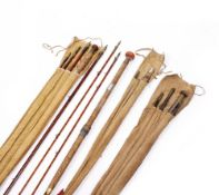 AN EARLY 20TH CENTURY HARDY BROS LIMITED 16 FOOT SPLIT CANE THREE PIECE SALMON FISHING ROD