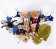 A COLLECTION OF STUFFED TOYS to include a vintage Merrythought hippo, a Merrythought donkey and a