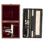 AN EARLY 20TH CENTURY LEITZ MECHANICAL MICROSCOPE STAGE signed E Leitz Westzlar with silvered