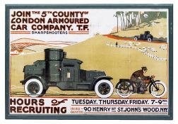 A FRAMED REPRODUCTION POSTER advertising The London Armored Car Company 'Sharp Shooters', 50cm x