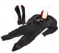 A MID 20TH CENTURY MOTORCYCLE RACERS ITALIAN LEATHER SUIT by Micas of Milan, approximately 132cm