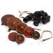 FOUR ANTIQUE JOHN RABONE & SONS LEATHER BOUND TAPE MEASURES, three Rabone Chesterman Limited leather