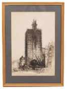 EARLY 20TH CENTURY Wills Memorial Building Bristol encased in scaffolding, dry point etching, 32cm x