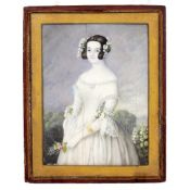 AN EARLY TO MID 19TH CENTURY MINIATURE PORTRAIT depicting a bride with flowers in her hair and
