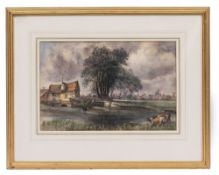 CHARLES JAMES LEWIS (1830/36 - 1892) Fishing at a mill pond, watercolour, signed and dated 1864,