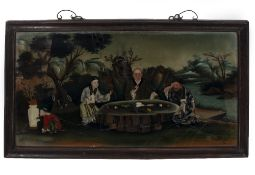 A LATE 18TH CENTURY CHINESE EXPORT REVERSE PAINTED GLASS PICTURE depicting three scholars seated