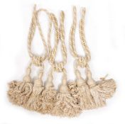 A PAIR OF LARGE TASSELED CURTAIN TIE BACKS each tassel approximately 42cm high together with a