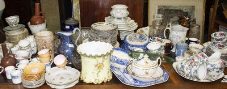 A MIXED QUANTITY OF CERAMICS early 19th century and later to include a gilt porcelain sugar box