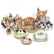 A COLLECTION OF STAFFORDSHIRE FLAT BACK FIGURINES, Staffordshire figurines, two Victorian tureens