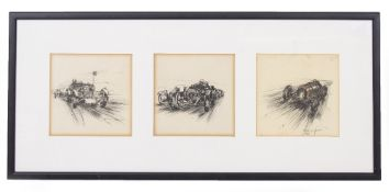 THREE DECORATIVE PRINTS of early 20th century racing cars, indistinctly signed, each print 14cm