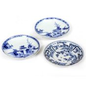 A PAIR OF ORIENTAL PORCELAIN SAUCERS decorated in cobalt blue from the Nanking Cargo, each 11.8cm