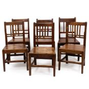 A 19TH CENTURY HARLEQUIN SET OF SIX FRUITWOOD AND ASH CHAIRS with panelled seats Condition: all