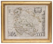 A 17TH CENTURY MAP OF HEREFORDSHIRE 41cm x 50cm together with a ceramic sculpture depicting a female