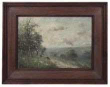 BOULE (LATE 20TH CENTURY SCHOOL) 'A Country View', oil on board, indistinctly signed, 23cm x 34cm