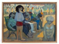 1960'S POLISH SCHOOL Figures in a park, oil on canvas, initialled HK, dated 68, marked Wczasy 1968