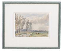 ELLEN MARGARET MARIA EATON (1866-1949) Meadows at Sturrey, Kent, watercolour, signed lower left,