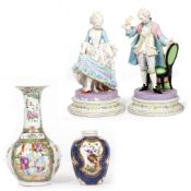 A PAIR OF 19TH CENTURY FRENCH BISQUE PORCELAIN FIGURINES each marked 778 to the base, 28cm in