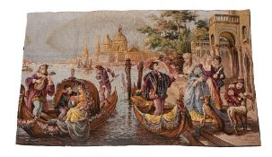 TWO SIMILAR TAPESTRY STYLE MACHINE WOVEN PANELS depicting Venetian scenes, one 149cm x 94cm, the