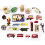 A MIXED LOT to include die-cast toy vehicles including a Dinky Toys Merryweather Marquis fire