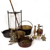A COLLECTION OF METALWARE to include two 19th century copper jam pans, the largest 46cm wide; a
