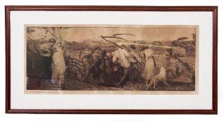 ROBERT WALKER MCBETH (1848-1910) Harvest Moon, etching, signed in pencil lower left, 32cm x 85cm