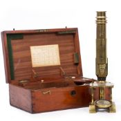 A LATE 19TH CENTURY CONTINENTAL STYLE MICROSCOPE with Y shaped foot and brass pillar, unsigned,
