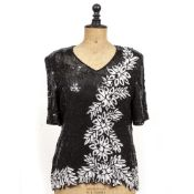 THREE SEQUINED TOPS BY FRANK USHER one size medium, together with a Saint Laurent skirt size 42