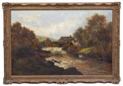 19TH CENTURY MILL AND RIVER SCENE oil on canvas, 74cm x 114cm mounted in a gilded frame, 93cm x