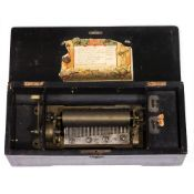 A SWISS MUSICAL BOX playing eight airs in a case with decorative inlay, 42.5cm wide x 18.5cm deep