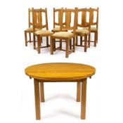 A MODERN LIGHT OAK CIRCULAR EXTENDING DINING TABLE with square legs and two extra leaves, 120cm