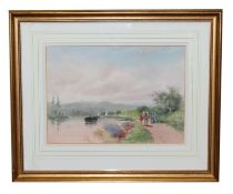 HENRY CHARLES FOX (1855/60-1929) 'The Barge', watercolour, circa 1910, 26cm x 36cm, framed and