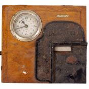 AN EARLY 20TH CENTURY FRENCH OAK CASED CLOCKING IN MACHINE marked Leon Bajol Paris, the clock with