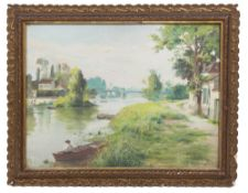 E.CHOLLET a Continental river scene, signed and dated 1902, 44cm x 59cm together with a painting