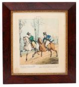 A SET OF SIX DECORATIVE 19TH CENTURY HAND COLOURED PRINTS 'Ideas', each set in a rosewood frame with