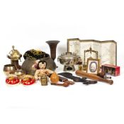 AN INDIAN BRASS CHASED AND ENGRAVED BOWL together with various metalware, Oriental figures, a