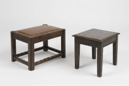 Two 20th Century handmade stools, one with a leather top, with message to the underside 38cm x