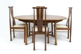 Ercol Saville dining table and six chairs in the 'Darker Golden Dawn' finish (matched set) chairs