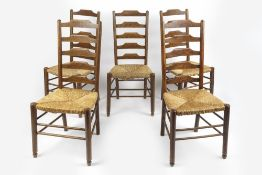 In the manner of Philip Clissett (1817-1913) for Heals part-set of five dining chairs, oak with