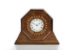 Attributed to Harry Davoll (British, 1876-1963) Cotswold School mantel clock, burr yew, white enamel