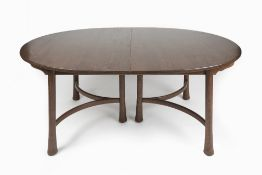 Ercol Saville dining or banqueting table, with leaves, elm 123cm x 74cm x 177cm without the leaves