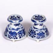 Pair of porcelain salt cellars Chinese, Kangxi (1662-1722) of diablo form with panels of various