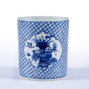 Blue and white porcelain brush pot Chinese, Qing decorated with scholar's objects in two reserved