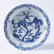 Shallow porcelain blue and white dish Chinese, 18th Century painted with bamboo and flowering cherry