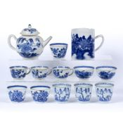 Group of blue and white porcelain Chinese to include six wine cups decorated in the willow